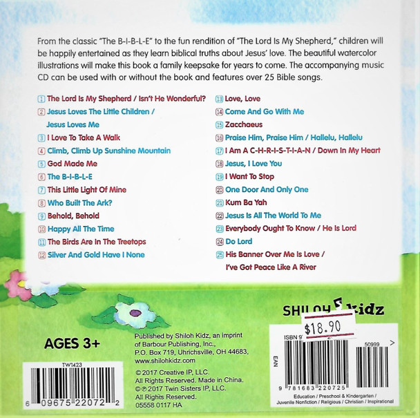 BIBLE SONGS for little hearts by Shiloh Kidz(Padded cover board book). Include Music CD of 25 children's songs.