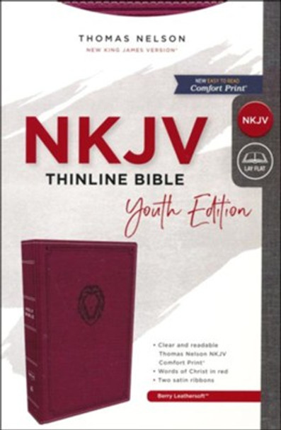 NKJV Thinline Bible - Youth Edition(Comfort Print), Berry Leathersoft