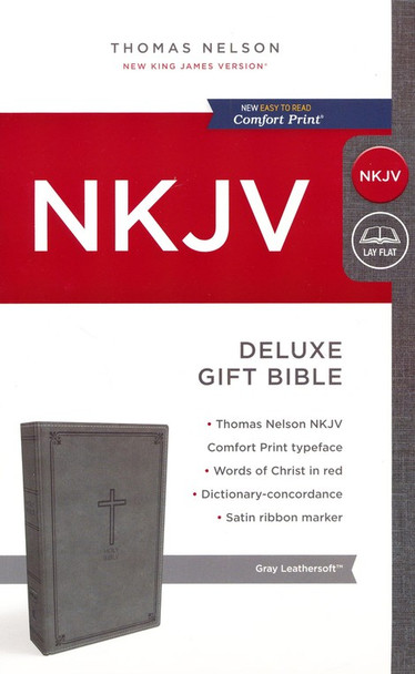 NKJV Deluxe Gift Bible(Comfort Print), GRAY Leathersoft