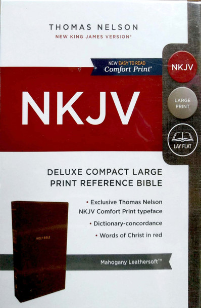 NKJV Deluxe Compact Large Print REF, MAHOGANY Leathersoft, 8.5pt Red Letter