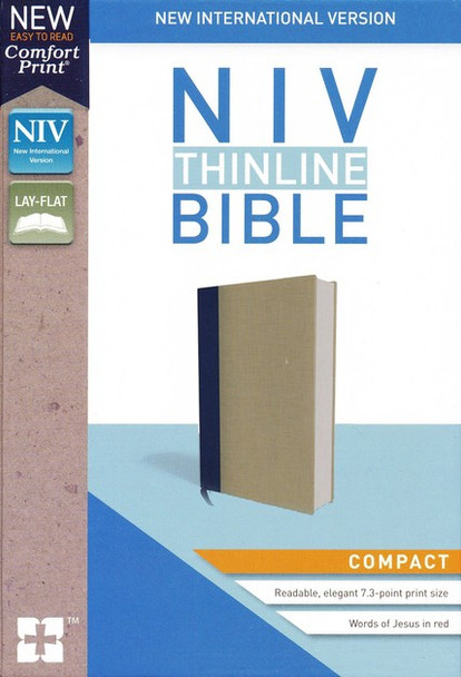 NIV Thinline Bible, Compact(Comfort Print) BLUE/TAN Cloth Over Board