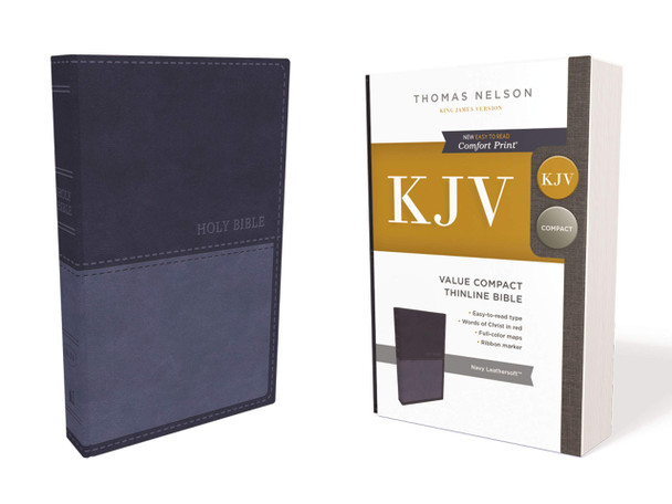 KJV Value Compact Thinline Bible in NAVY Leathersoft