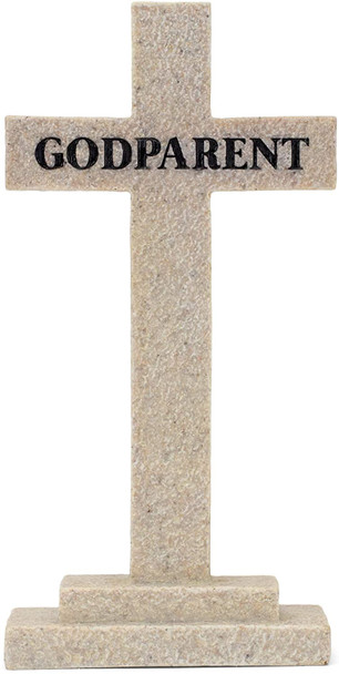"""Tabletop Cross(TCR177) Godparent - So Very Grateful Textured Stone Resin 5 x 2"""""""