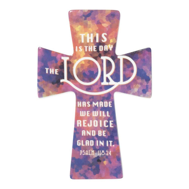 """Porcelain Wall Cross(WCC-200) - The Day The Lord Has Made Mosaic Purple , H9"""" x W 6"""" x D 0.25"""""""