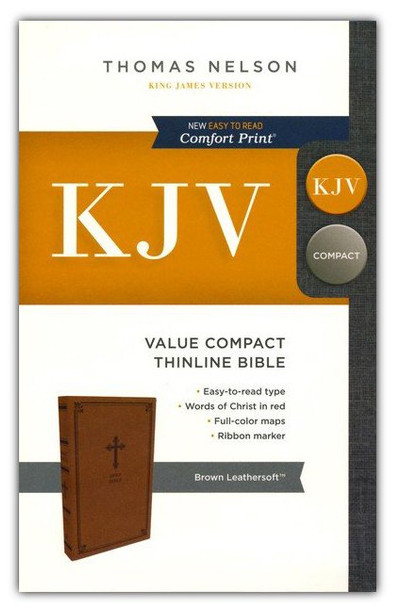KJV Value Compact Thinline Bible, BROWN Leathersoft