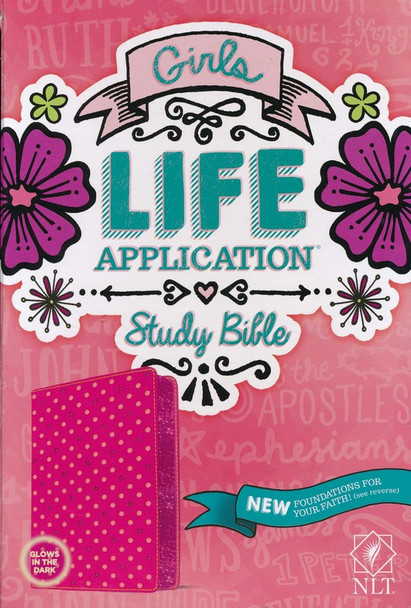 NLT Girls Life Application Bible(Ages 9-13). Pink Glow Leatherlike