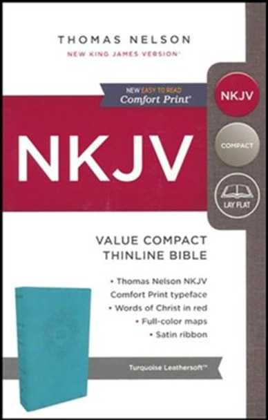 NKJV Thinline Bible Value Compact(Comfort Print), TURQUOISE Leathersoft