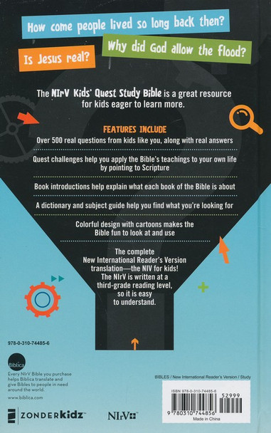 NIrV KID's QUEST STUDY BIBLE - Answers to over 500 questions about the bible for Ages 6-12