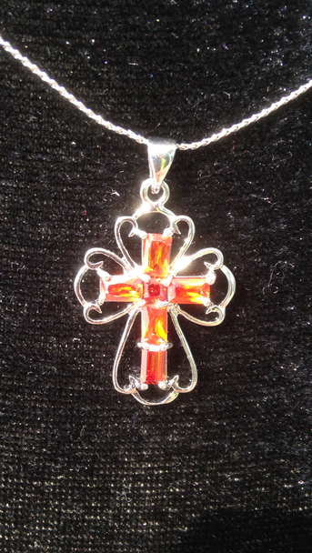 Large Lattice Crystal Cross Necklace (MZ Exclusive Product)
