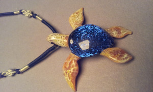 Glass Pendant Blue Sea Turtle