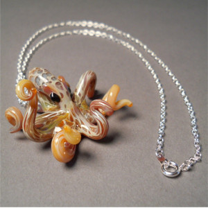 Octopus Pendant on a silver necklace chain