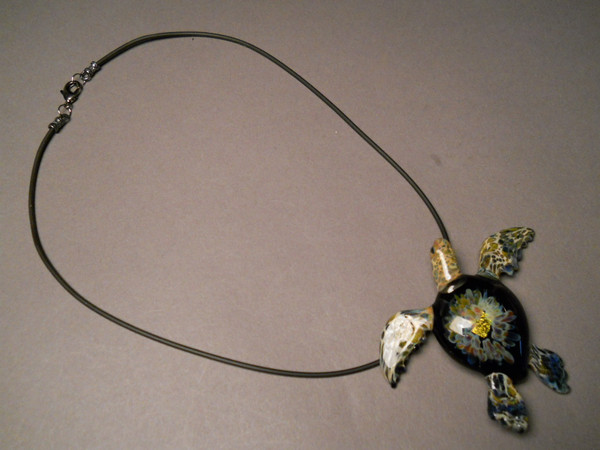 Extra Large Pendant  with Black cord and Gun metal  colored clasps