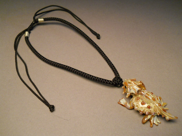 Horned Toad Pendant with Black Adjustable cord