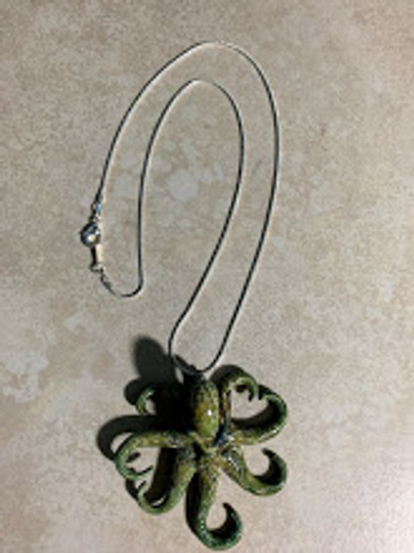 Green Octopus Pendant on Silver Chain