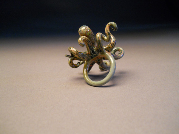 Art Glass Octopus Ring back view