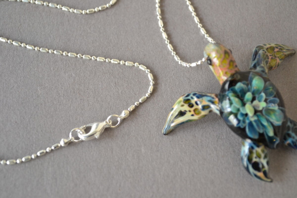 Sea Turtle pendant with Beaded Silver Chain 18 inches in length