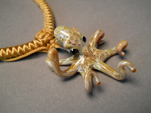 Close up of Octopus Pendant on Choker cord