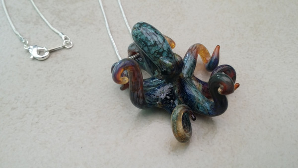 Aquatic Colored Glass Octopus Necklace Pendant