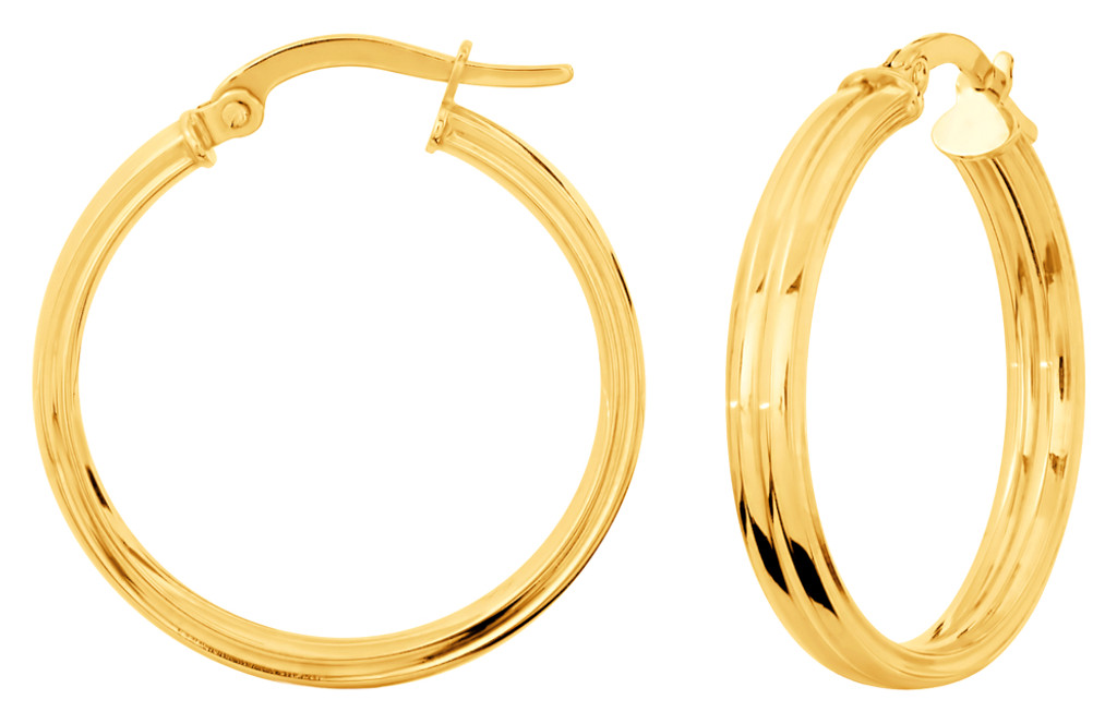 14KT Yellow Gold Two Tube High Polish Hoop Earrings