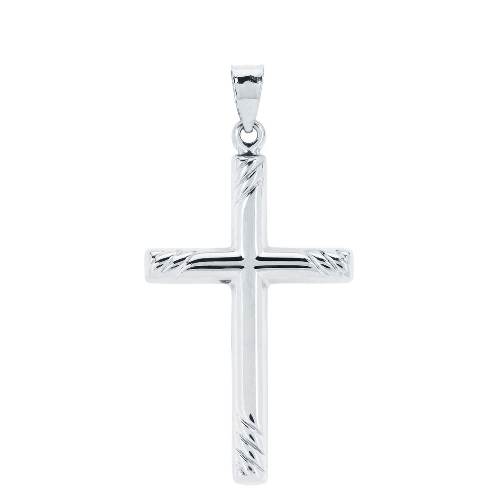 14KT White Gold High Polish Cross With Rope Edges