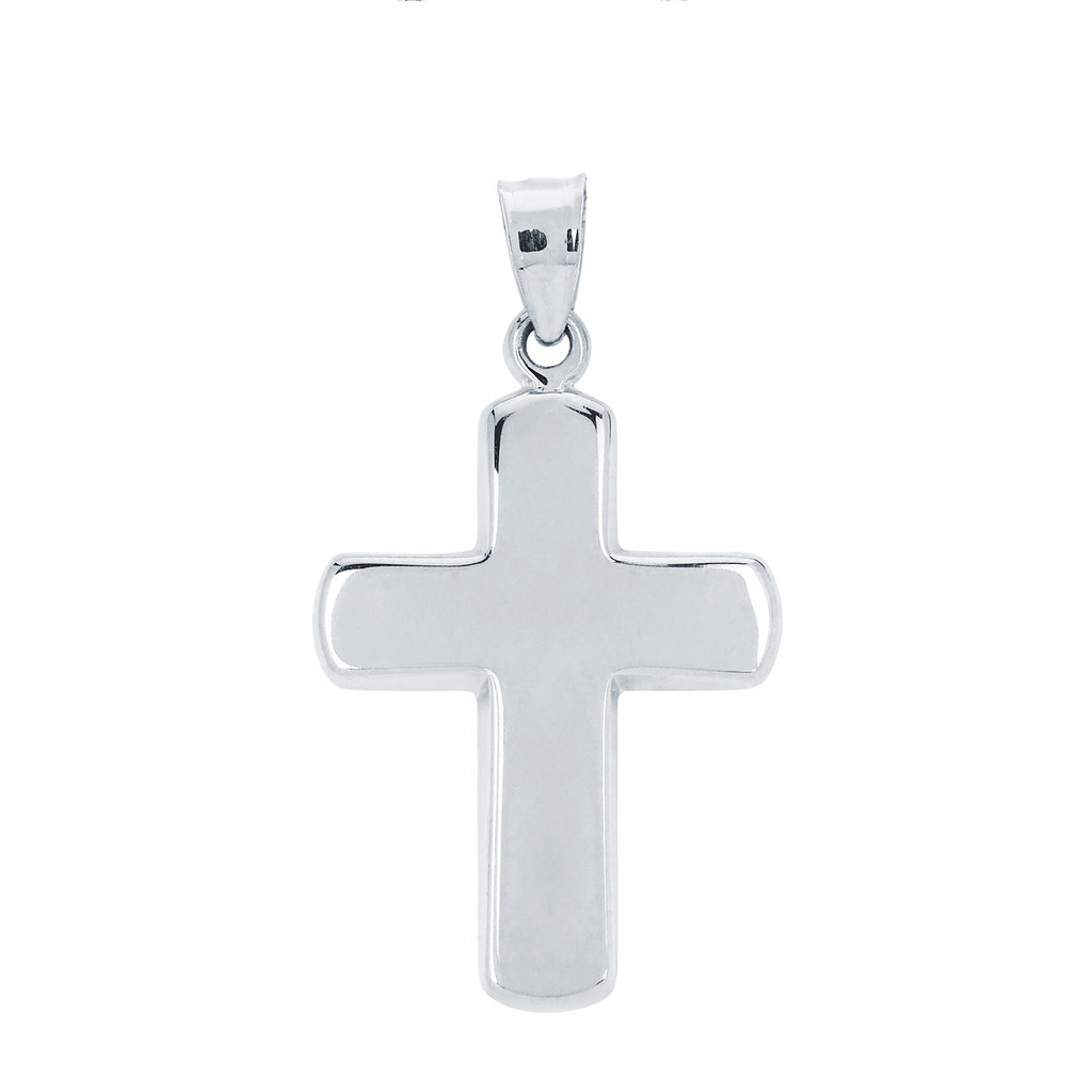 14KT White Gold High Polish Cross with Curved Edge
