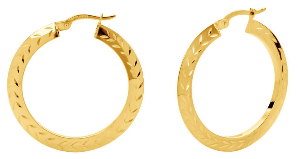 14 KT Yellow Gold Hoop Earrings with Chevron Diamond Cut
