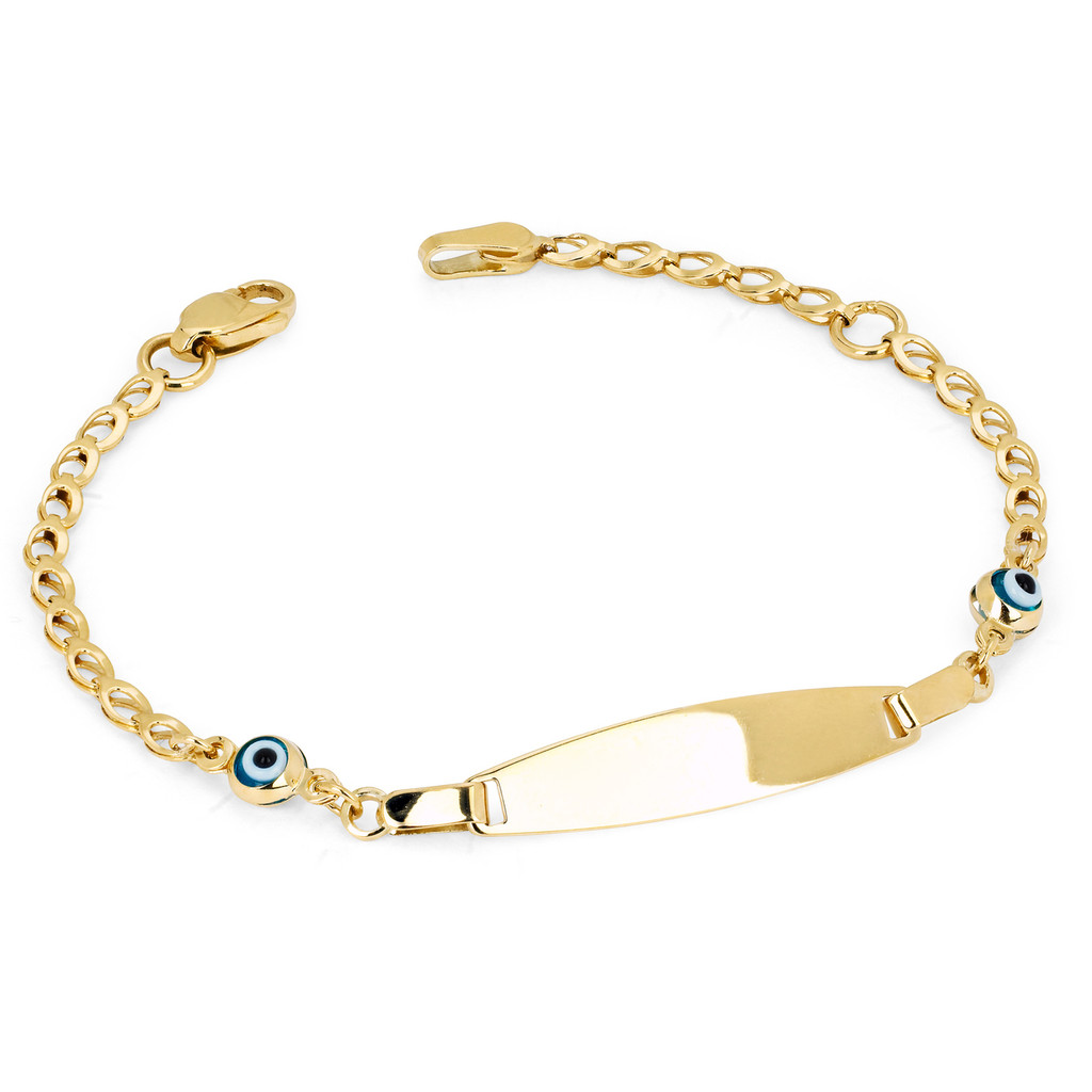 4KT Yellow Gold Baby ID Bracelet With Eye Charm