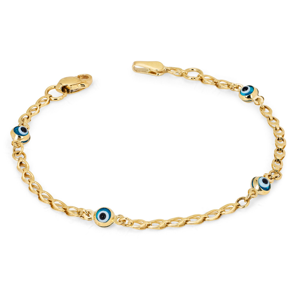 14KT Yellow Gold Baby Link Bracelet With Eye Charms