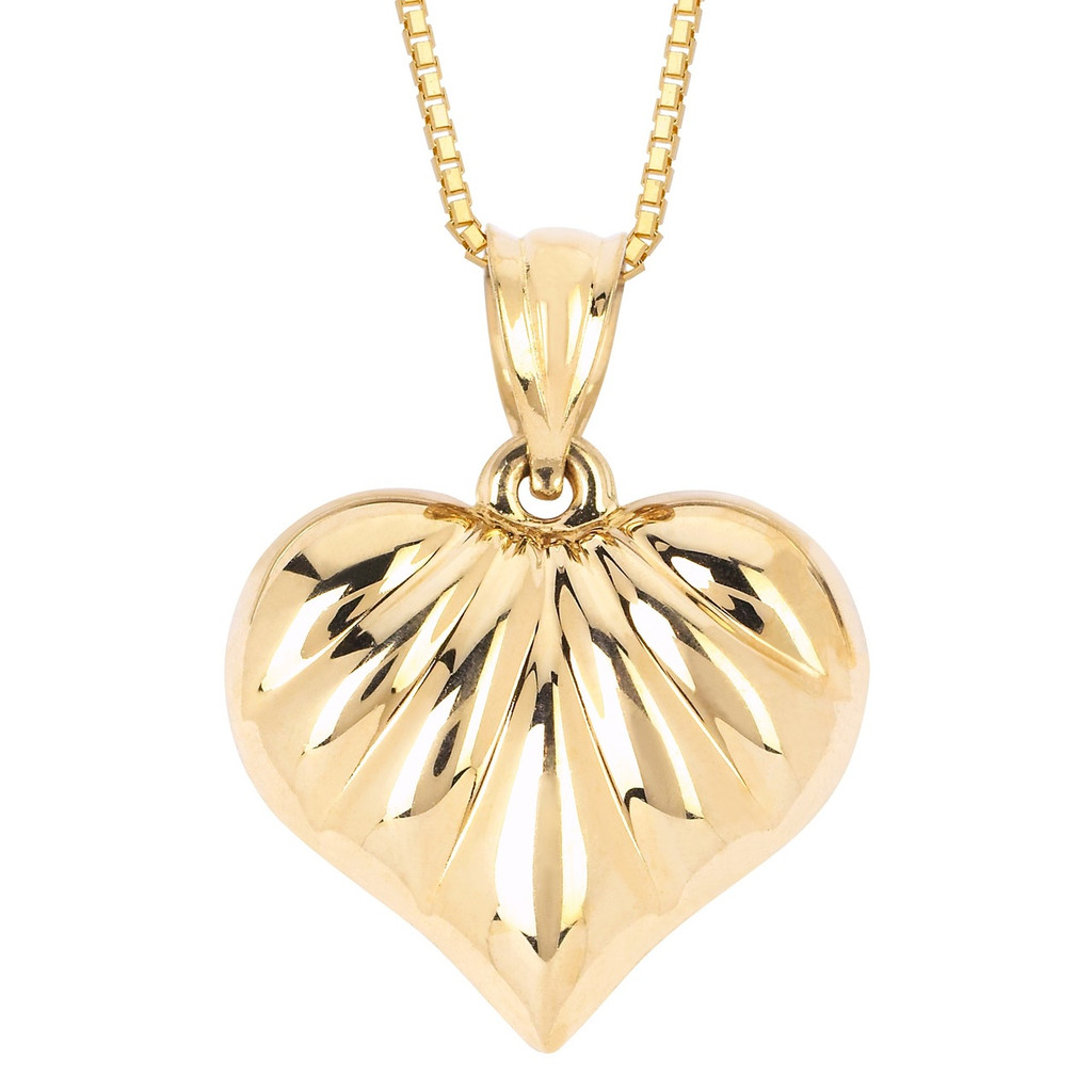 14KT Yellow Gold Fancy Heart Pendant With Chain