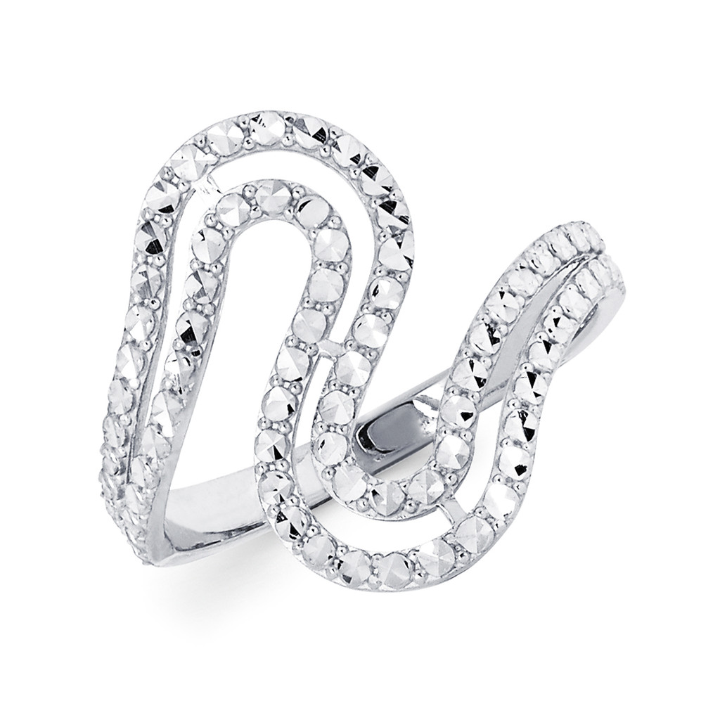 14KT White Gold Diamond Cut Ribbon Ring - RG111DCW