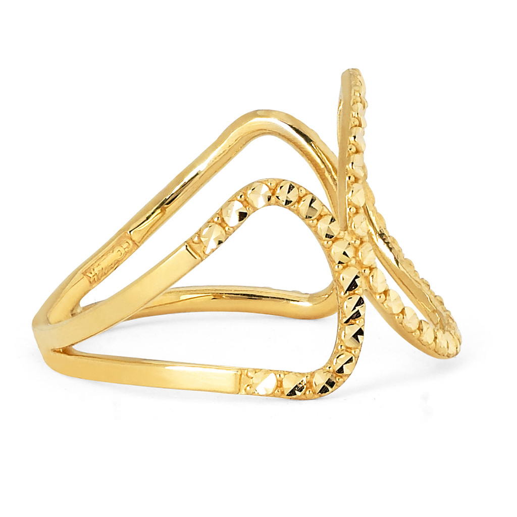 14KT Yellow Gold Diamond Cut Fancy Ring - RG108DCY