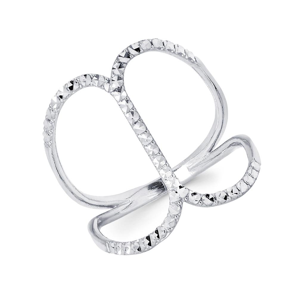 14KT  White Gold Diamond Cut Fancy Ring - RG104DCW
