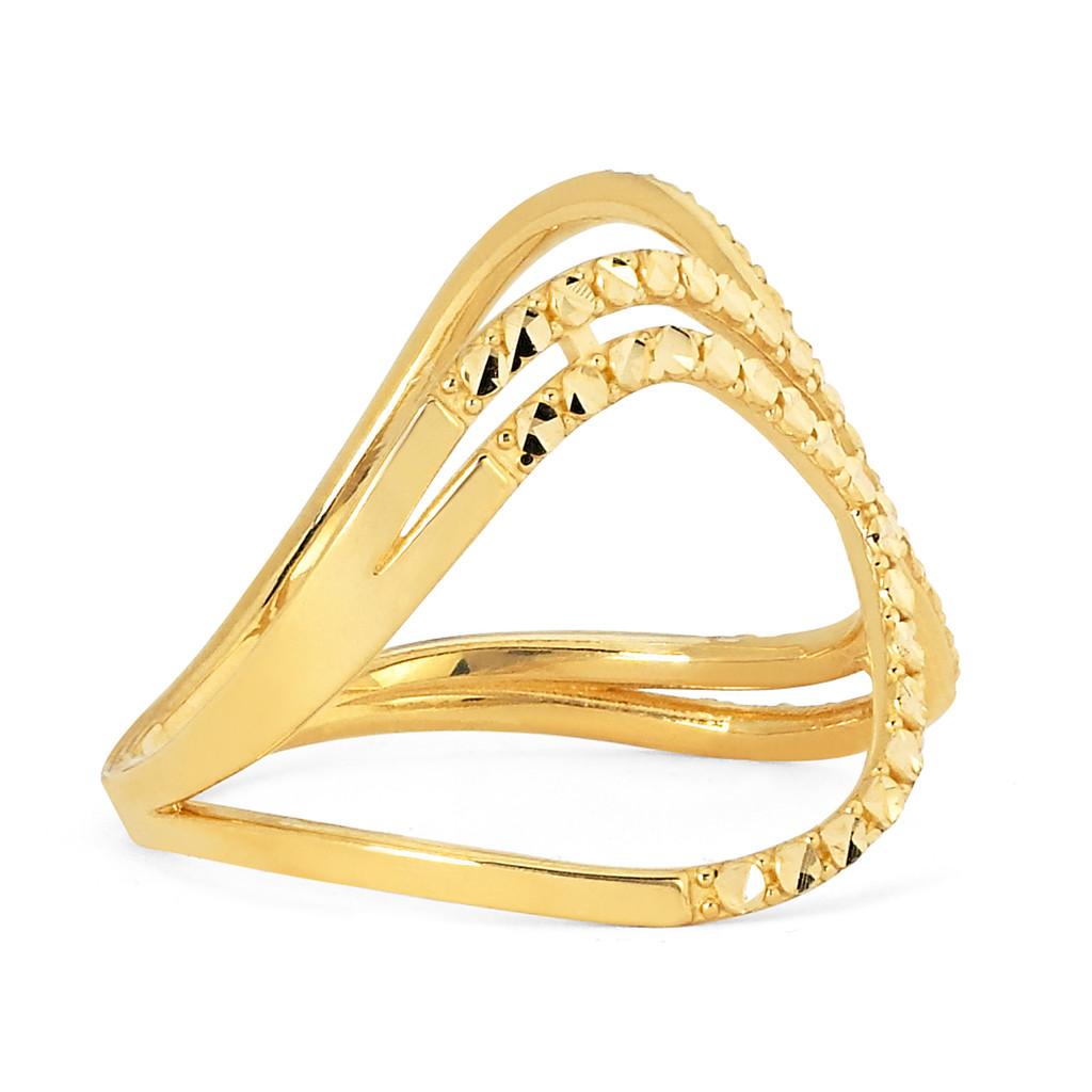 14KT Yellow Gold Diamond Cut X Ring - RG109D