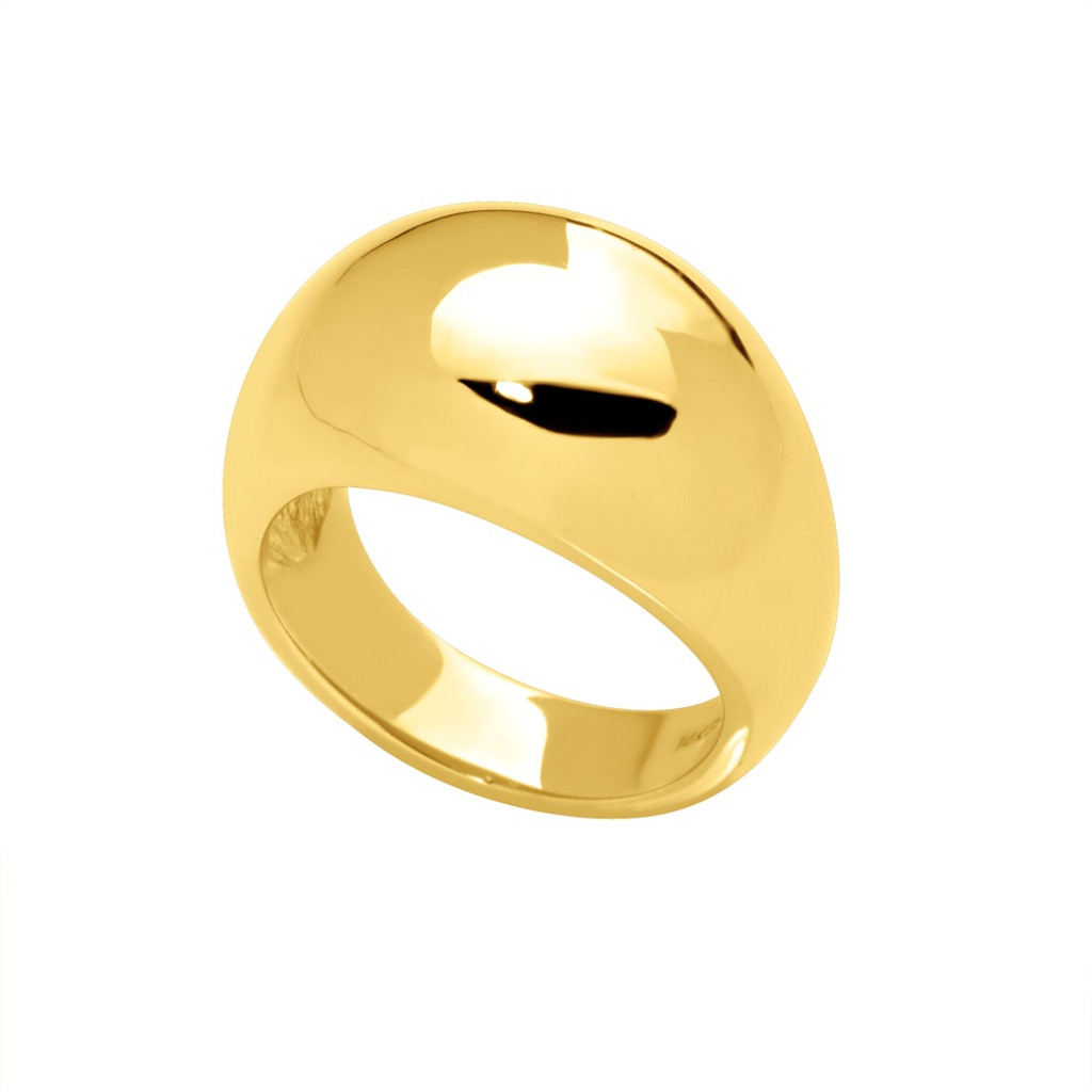 14KT Yellow Gold Domed High Polished Cigar Band