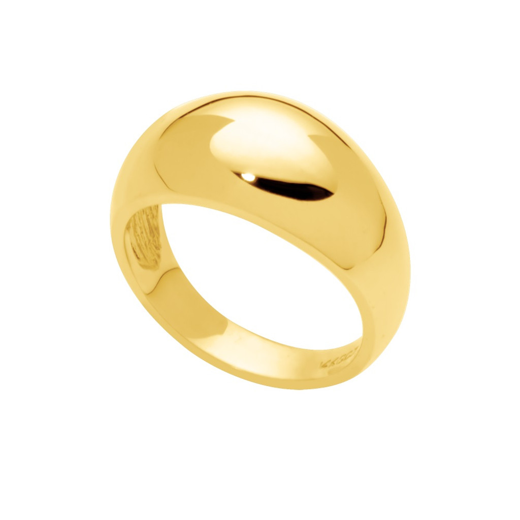 14KT Yellow Gold Domed High Polished Cigar Band - DR004