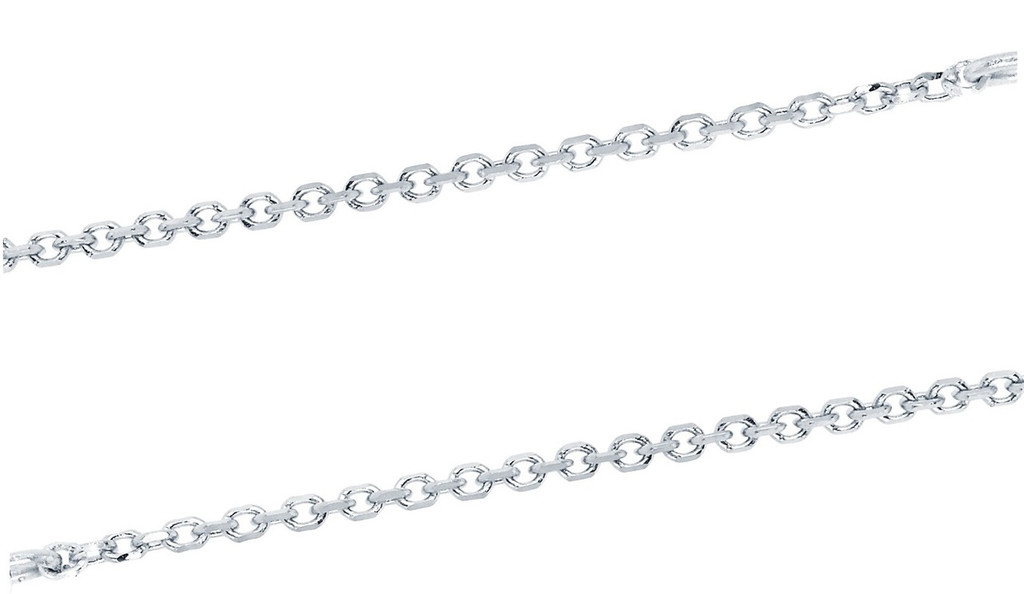 14KT White Gold Diamond Cut Cable Chain