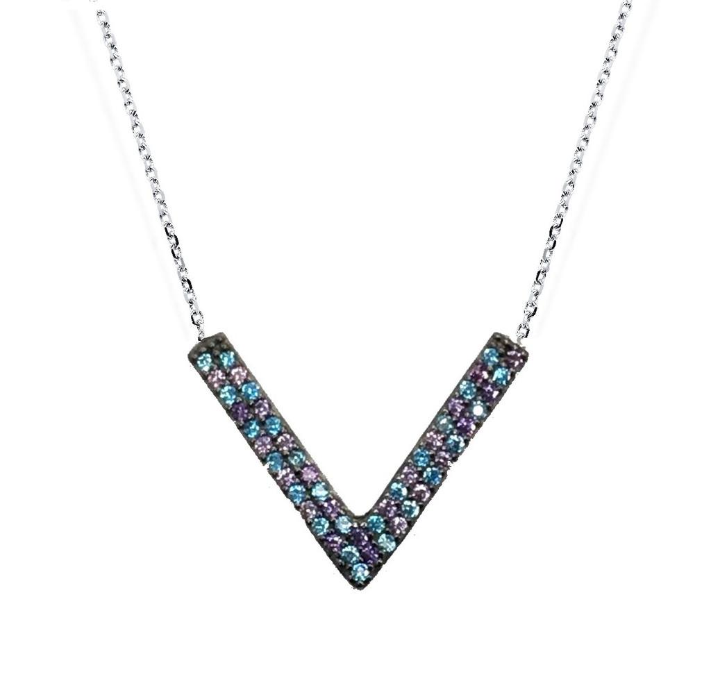 """14KT Blue Crystal """"V"""" Necklace -  CRYB001"""