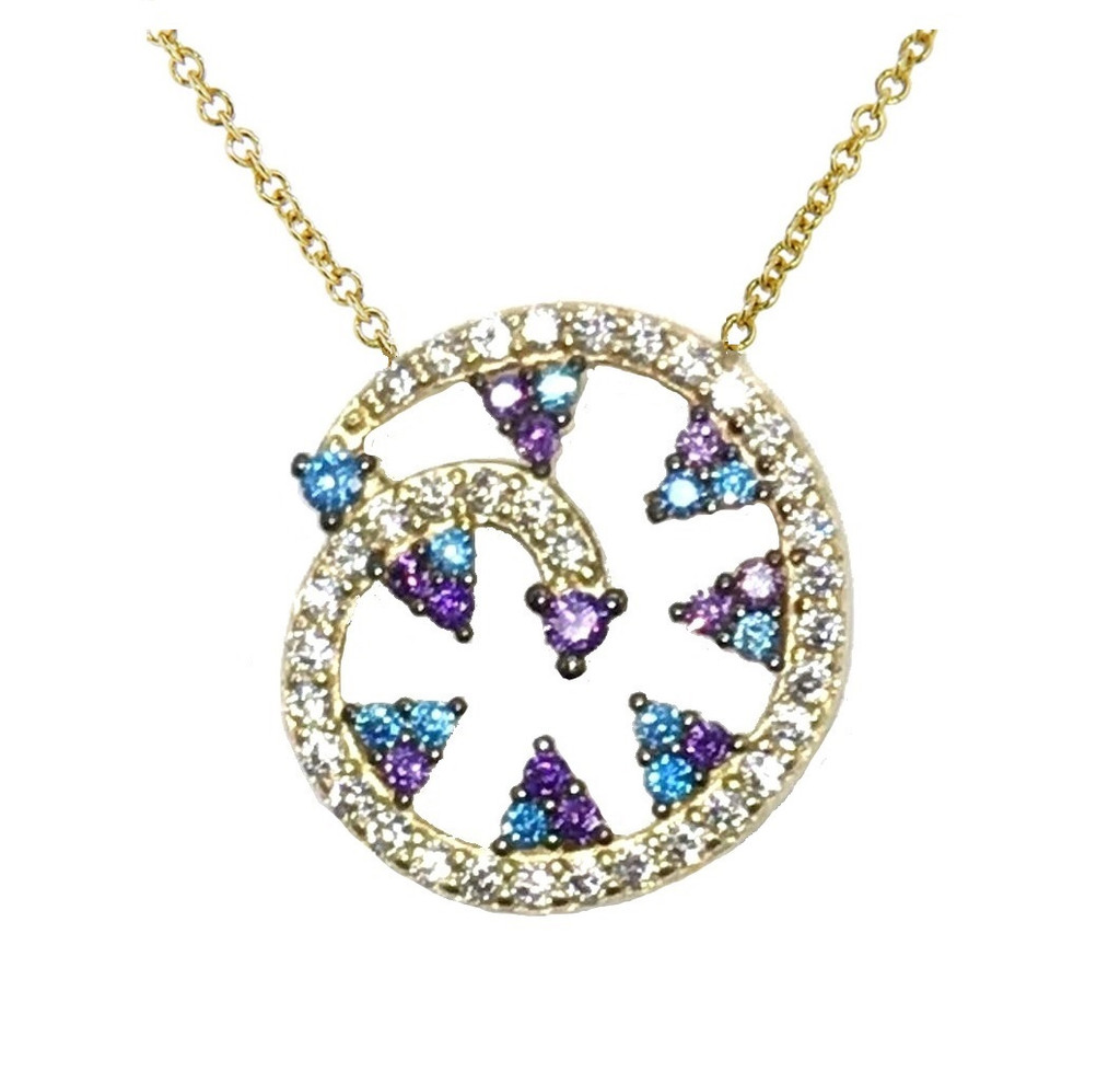 14KT Blue Crystal Swirl Necklace - CRYB002