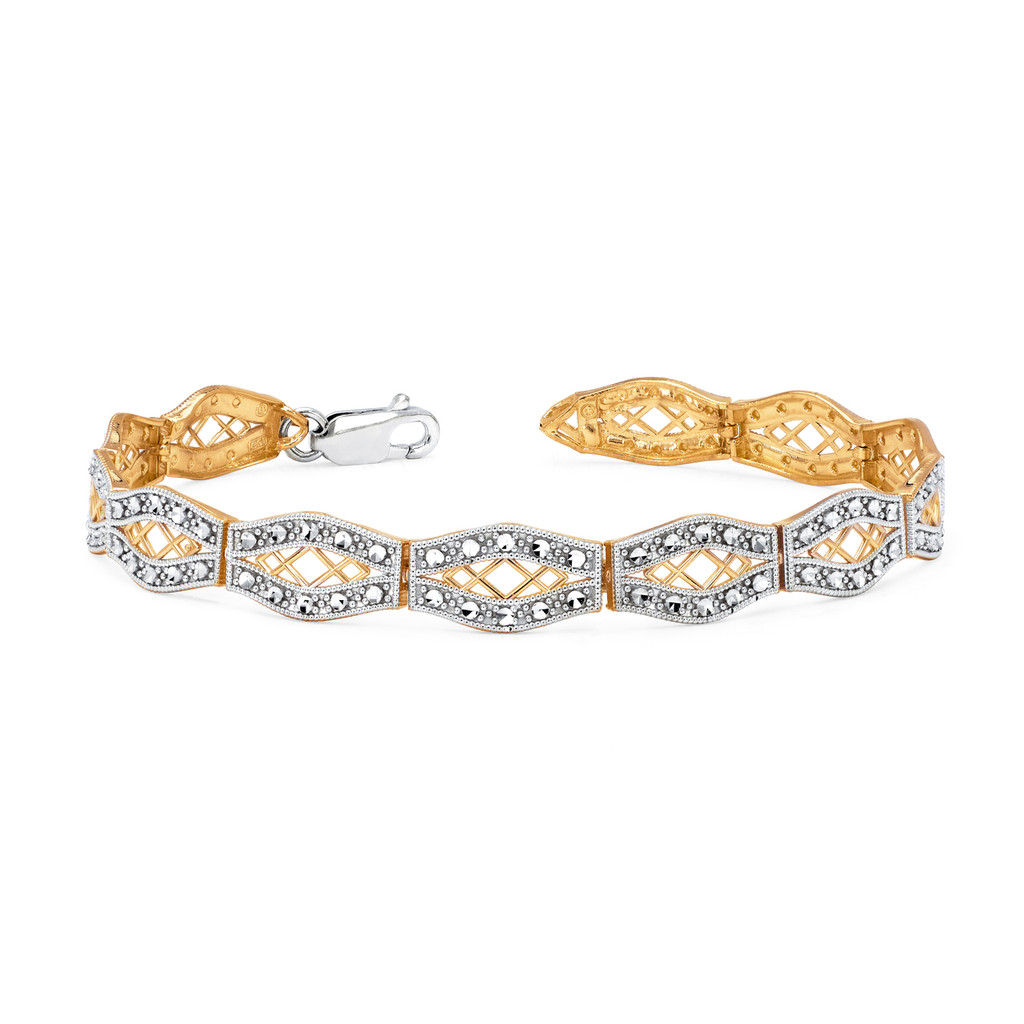 "14KT Two Tone Diamond Cut Art Deco Bracelet 7.5"""