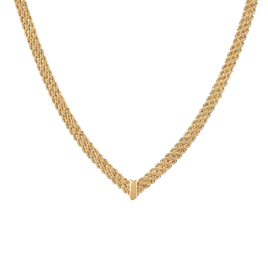 14KT Yellow Gold Triple Row Rope Chain Necklace