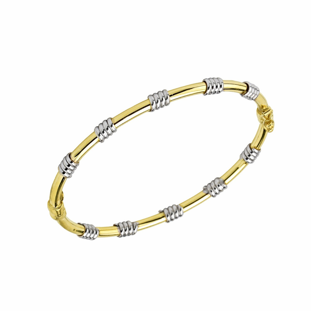 14Kt Two Tone Gold Wire on Tubing Bangle.