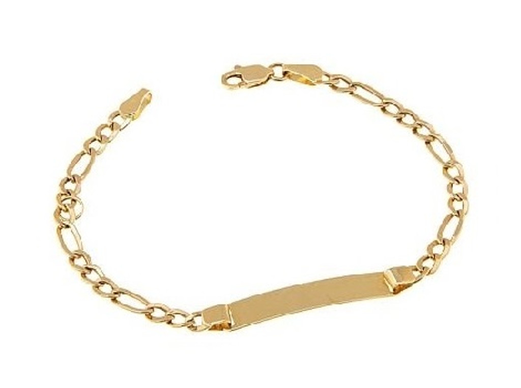 14KT Yellow Gold high polish child ID bracelet-BR1002-6