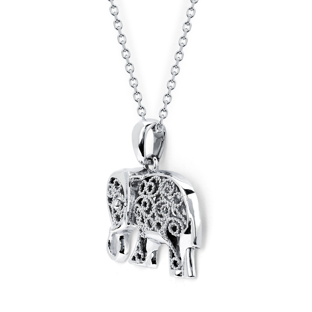 14KT White Gold Fillagree Elephant Pendant with Cable Chain