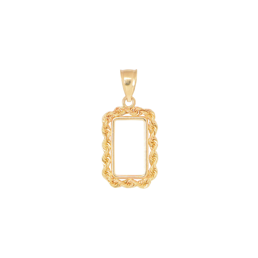 14KT Yellow Gold 1 Gram Rope Design Coin Frame Necklace