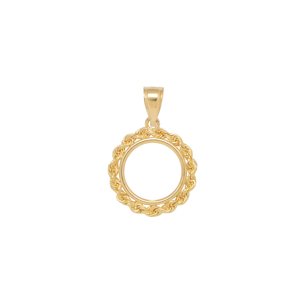 14KT Yellow Gold 1/20 of an Ounce Chinese Rope Coin Frame Necklace