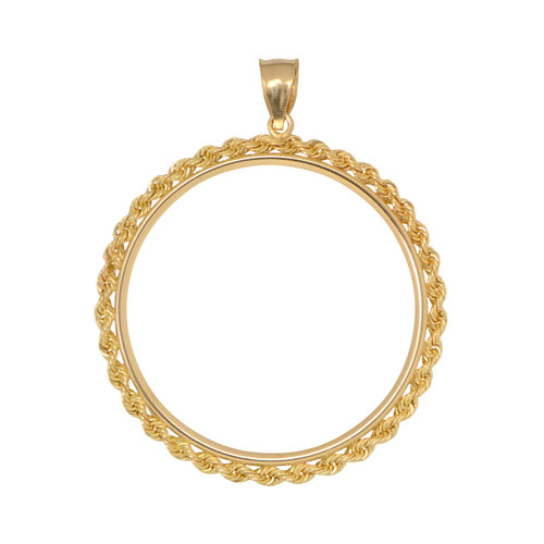 14KT Yellow Gold Rope Coin Frame Necklace
