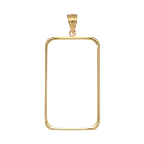 14KT Yellow Gold High Polish Rectangle Necklace