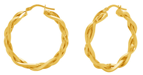 14KT Yellow Gold High Polish Braided Hoop Earrings