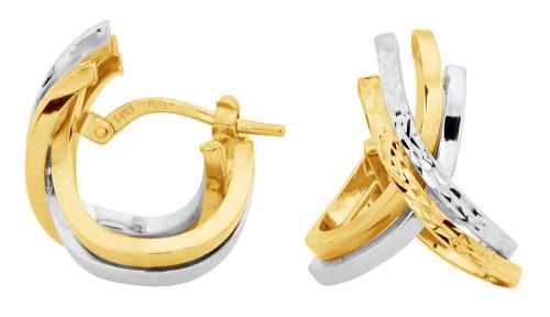 14KT Two Toned Diamond Cut Criss Cross Hoop Earrings