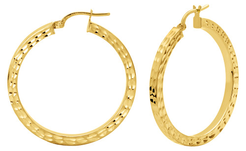 14KT Yellow Gold Diamond Cut Hoop Earrings